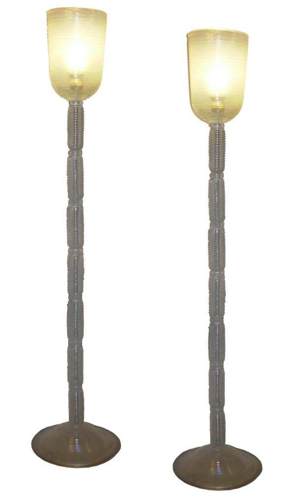 Pair of opaque clear glass venetian floor lamps at 1stdibs for Venetian glass floor lamp