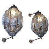 Outdoor indoor light blue Venetian glass/wrought iron lanterns