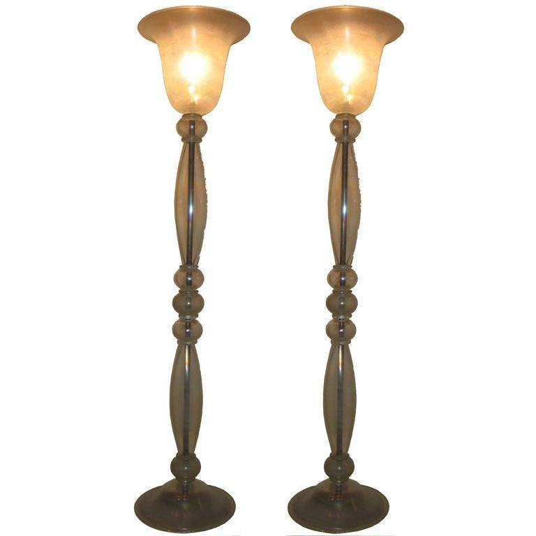 Elegant tall venetian murano blown glass floor lamps for Venetian glass floor lamp