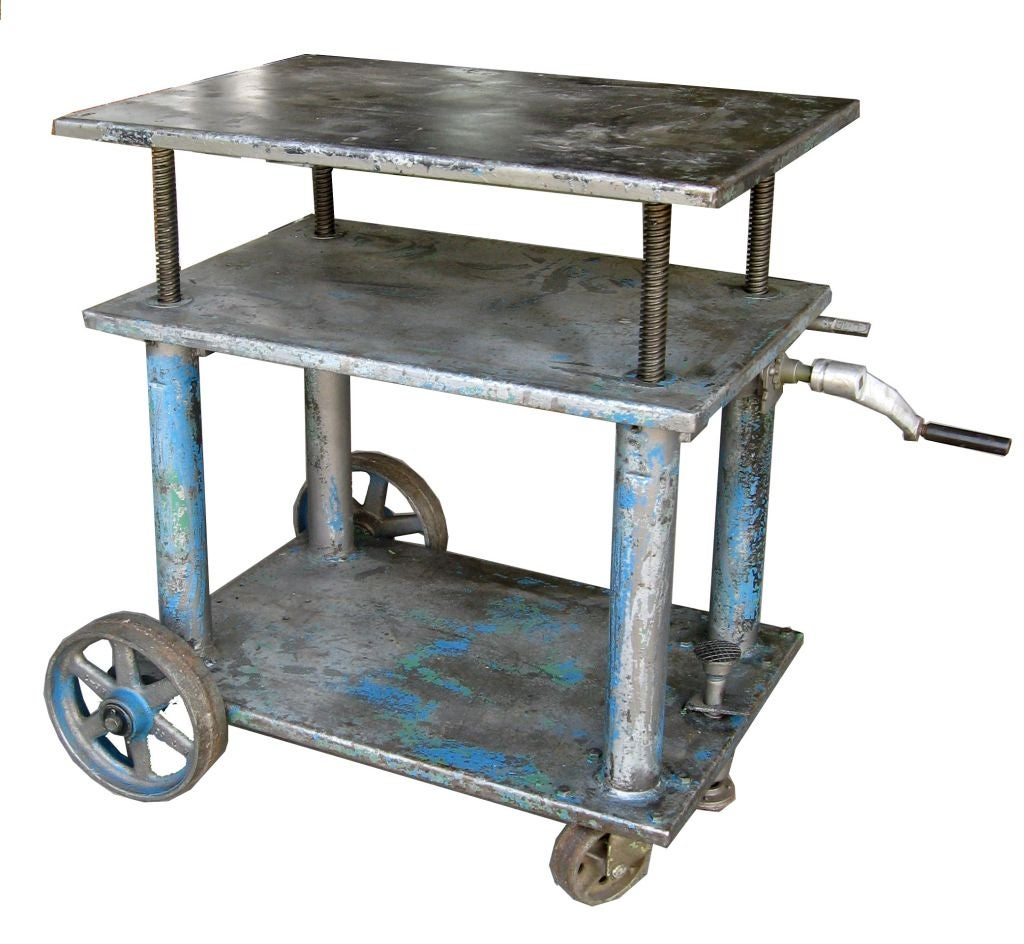 Adjustable Height Industrial Cart Side Table Console At