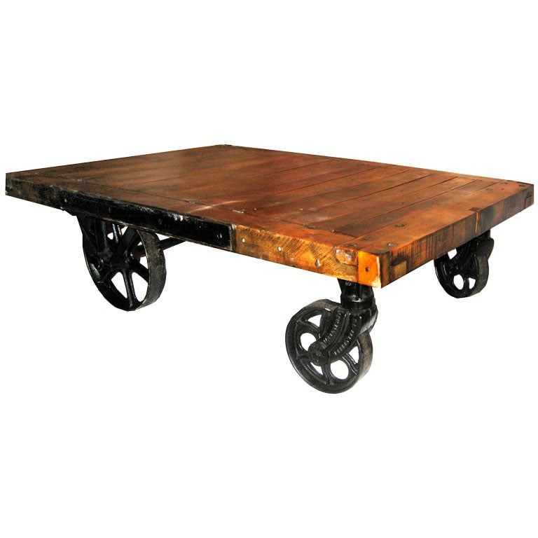 Large Industrial Cart Coffee Table With Original Top At 1stdibs