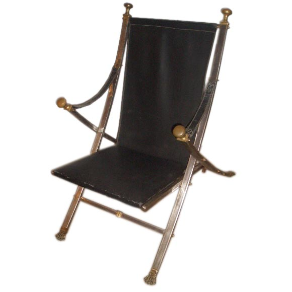 Maison Jansen Folding Sling Chair at 1stdibs