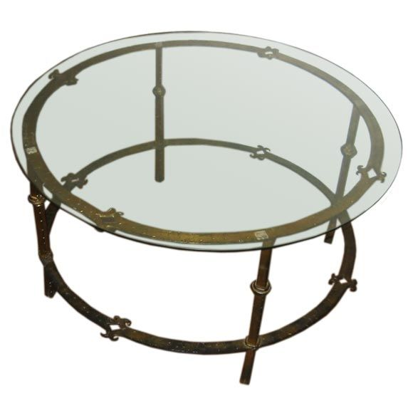 One Round French Hand Forged Gilded Wrought Iron Coffee Table At 1stdibs