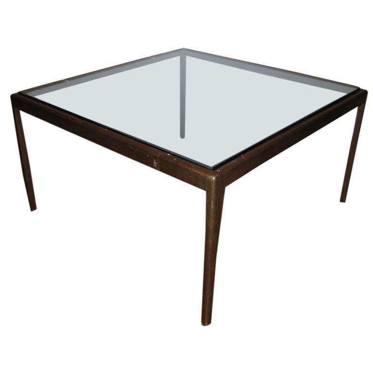 Glass Top With Bronze Base Coffee Table At 1stdibs