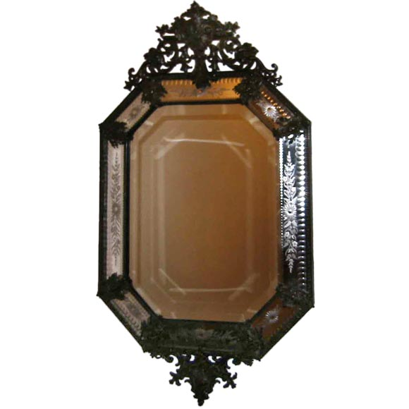 One venetian mirror with bronze decoration in a baroque for Small baroque mirror