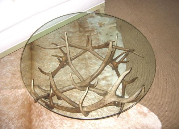 an antler cocktail table fabricated from naturally shed elk antlers