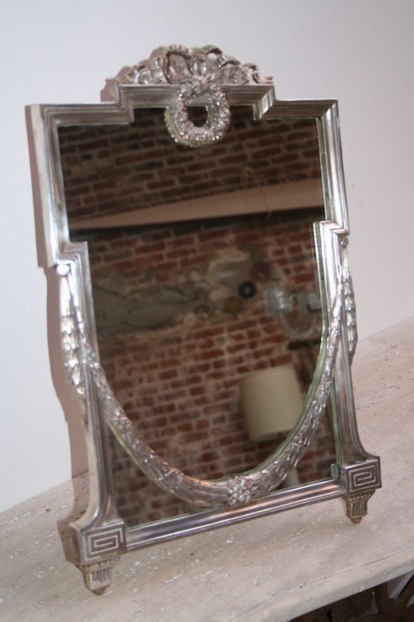 30 39 s silver plated vanity mirror at 1stdibs. Black Bedroom Furniture Sets. Home Design Ideas