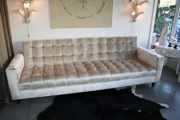 custom velvet tufted sofa jennifer taylor blue gray set