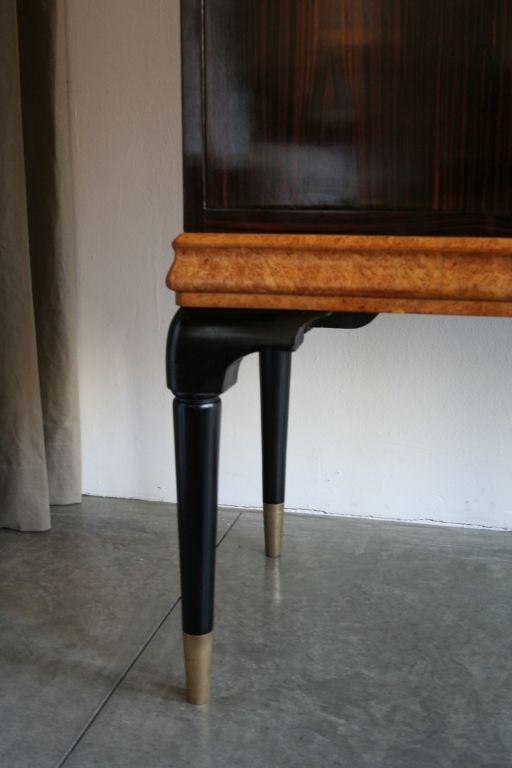 1940s Macassar Ebony and Burl Wood Bar Cabinet by Osvaldo Borsani For Sale 3