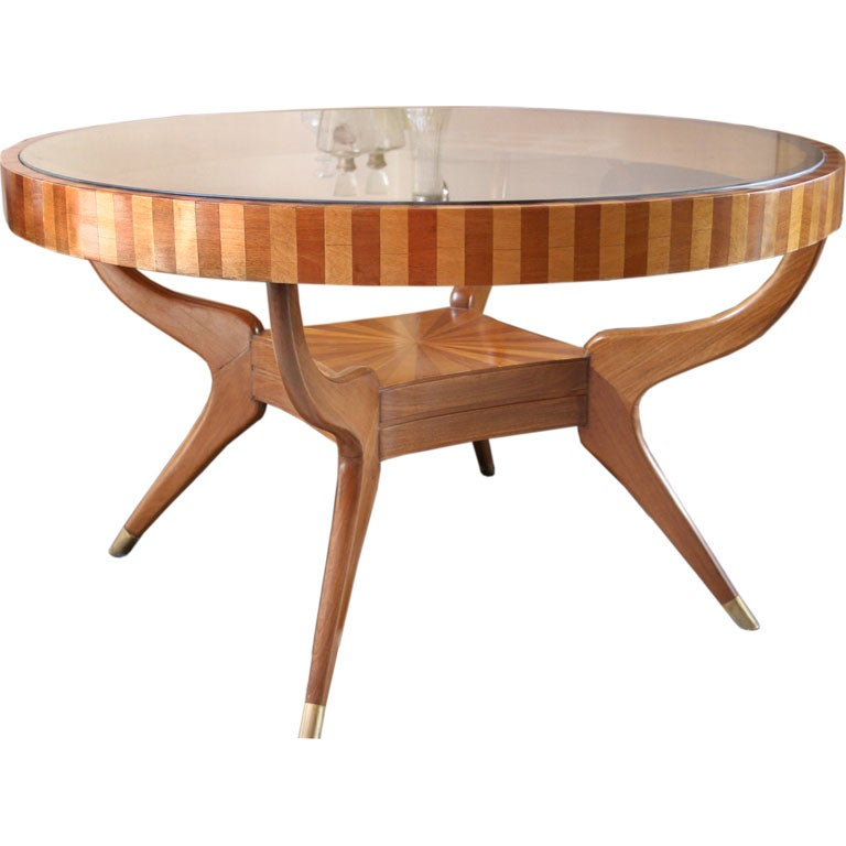 60 39 S Round Dining Table With Glass Top At 1stdibs