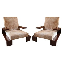 Pair of Custom 1970s Style Cowhide Armchairs by Adesso Imports