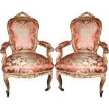 Pair or Italian 19th c. Louis XV Armchairs