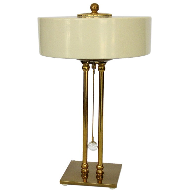Elegant Moderne Brass And Enamel Table Lamp At 1stdibs