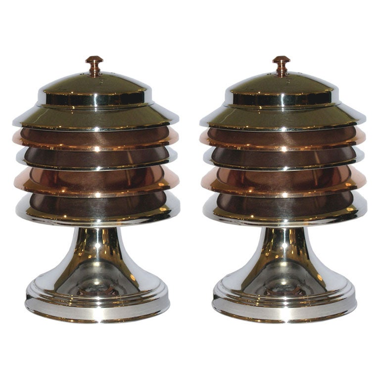 Pair of streamline art deco multi tiered ambient lamps at for Deco table multicolore