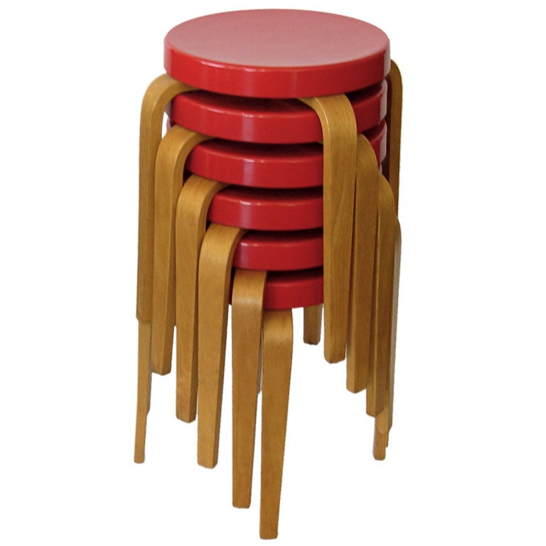 Rare Red Bakelite And Birch Stacking Stools Tables By