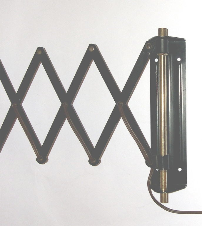 Black Industrial Wall Sconces : Great Black and Brass Industrial Scissors Wall Sconce at 1stdibs