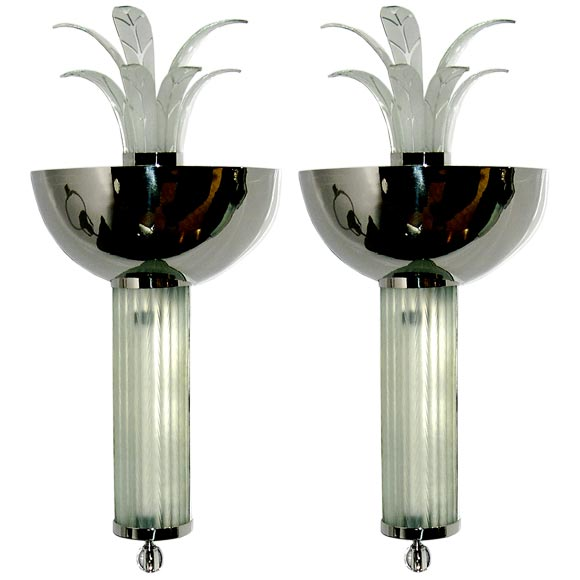 Large Art Deco Wall Sconces : Pair of Very Dramatic Large Art Deco Wall Sconces at 1stdibs