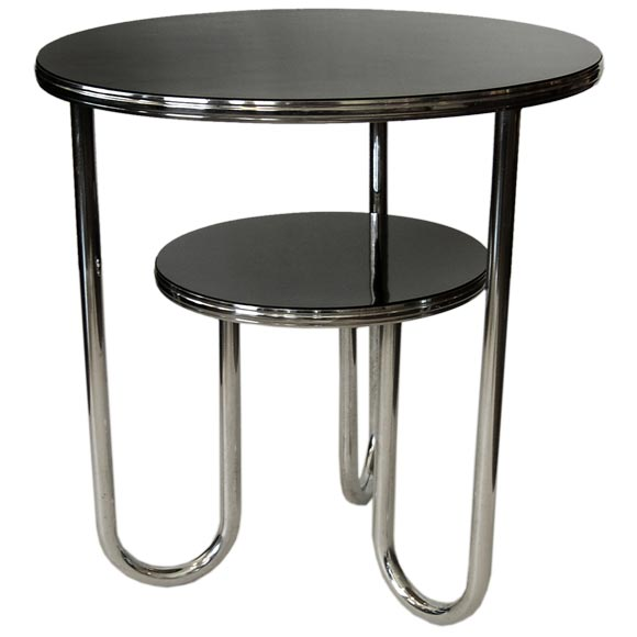 Black Amp Chrome Table ~ Machine age chrome and black formica table by royal