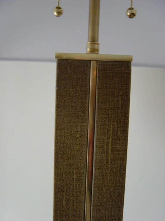 Karl Springer Mid-Century Linen and Brass Floor Lamp 5