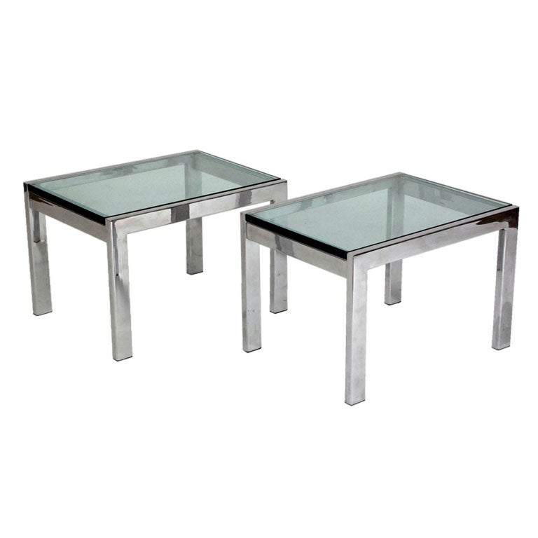 Pair Of Modernist Chrome And Thick Glass Side Tables For Sale At 1stdibs