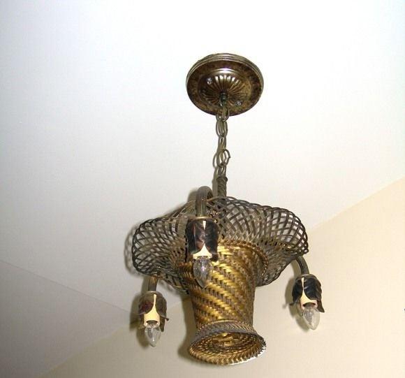 Italian Woven Brass Basket Chandelier (GMD#1020) For Sale