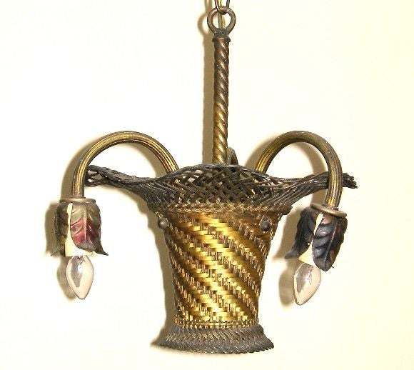 Mid-20th Century Woven Brass Basket Chandelier (GMD#1020) For Sale