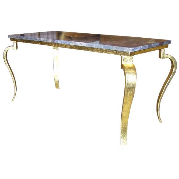 French Gold Coffee Table: 22k Gold Leaf 1940 French Coffee Table With Marble Top At