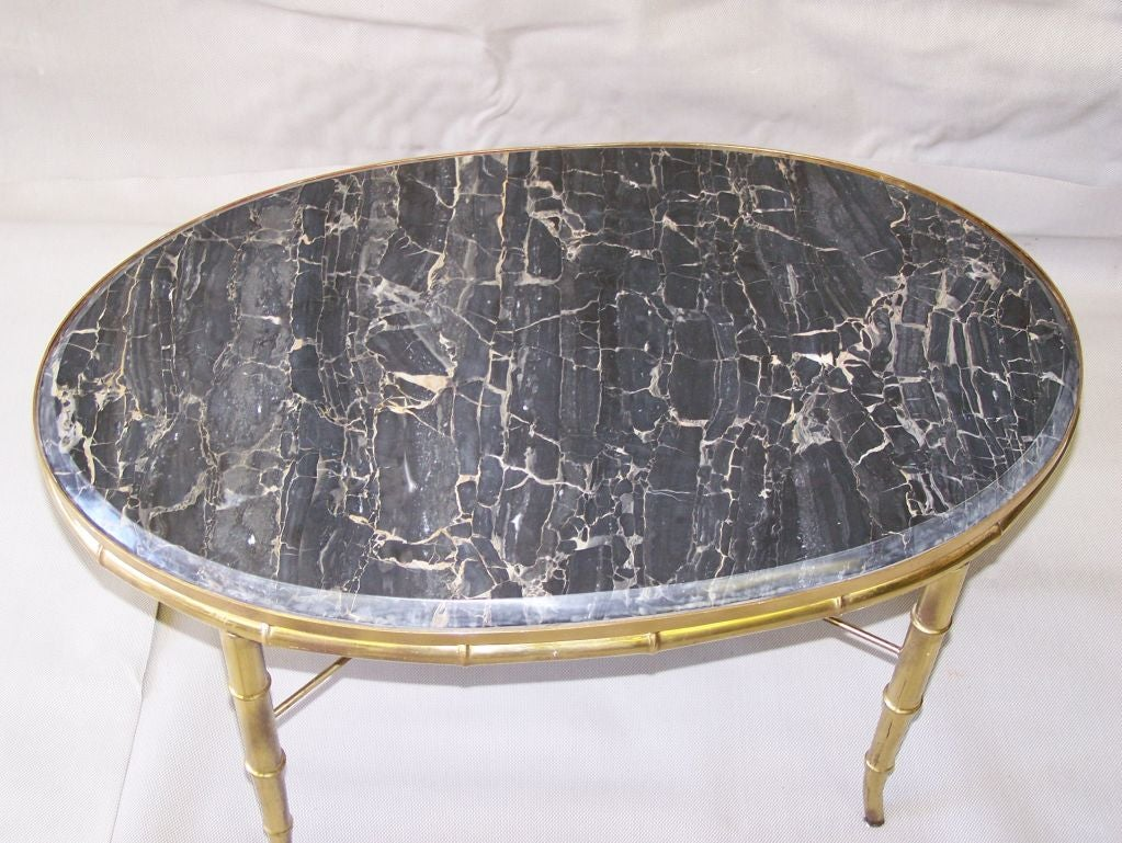 BAMBOO COFFEE TABLE WITH MARBLE TOP At 1stdibs