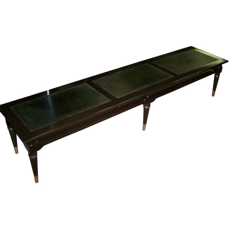 Long Coffee Table With Leather Top At 1stdibs