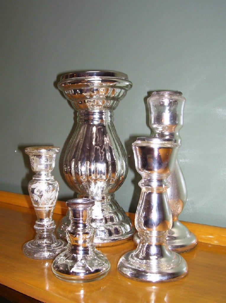 Set Of 7 Mercury Glass Candles Sticks At 1stdibs