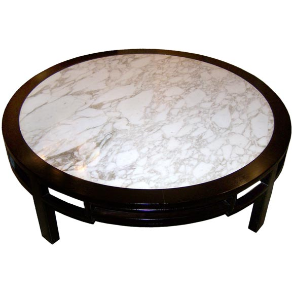 LARGE ROUND COFFEE TABLE WITH MARBLE TOP At 1stdibs