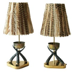 Brass and horn lamps with feather shades