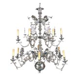A Dutch Baroque Style Pewter Twelve Light Chandelier