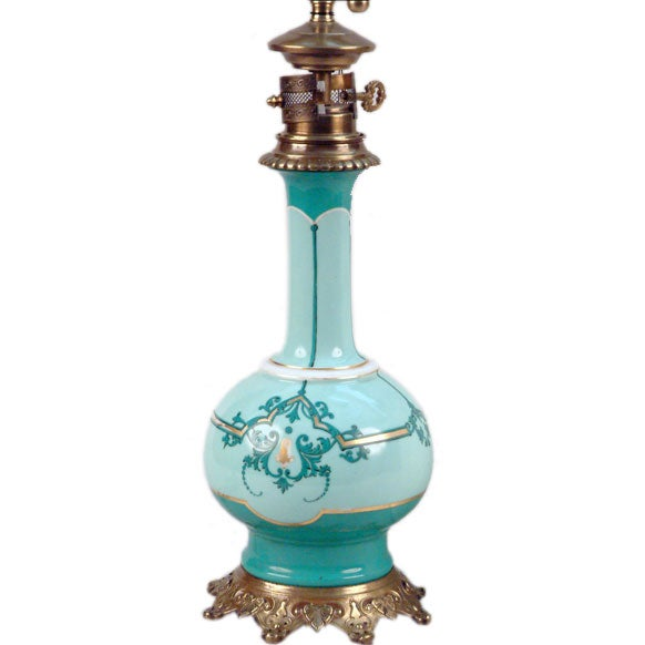 French Porcelain Oil Lamp, Electrified