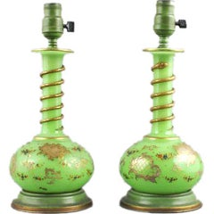 Pair of Applied Green Glass Vases, Electrified