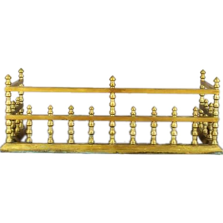 19th Century Brass Fireplace Fender