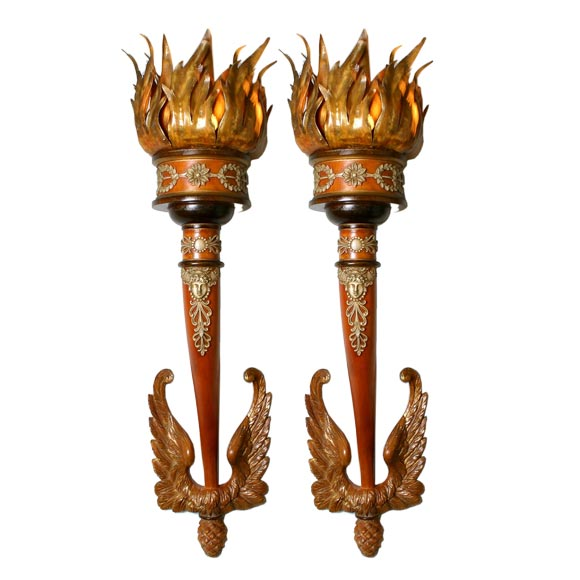Wall Sconces That Look Like Torches : Wonderful Large Pair of Carved Wooden Italian Torch Sconces at 1stdibs