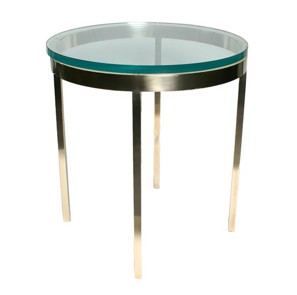 Brushed brass and glass side table at 1stdibs for Small gold side table
