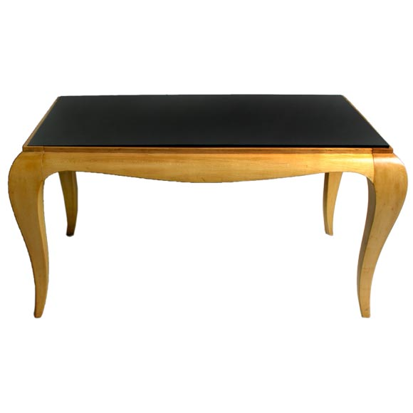 French art moderne wood cocktail table with black glass for Wood and glass cocktail tables