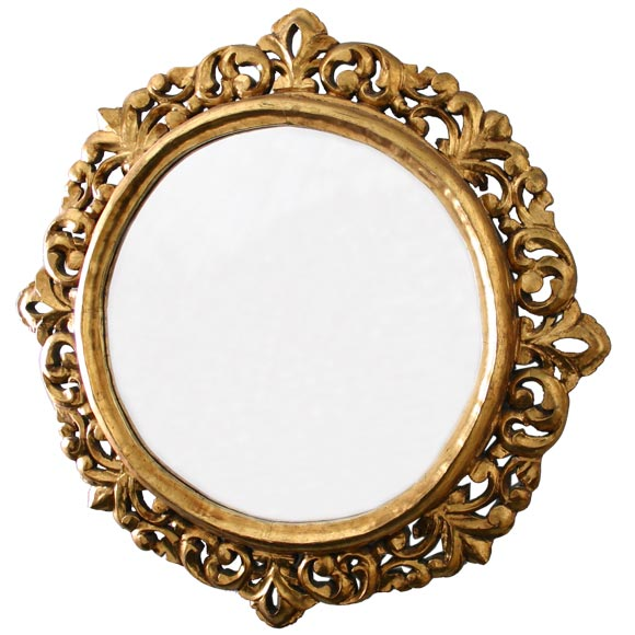Fine round mirror with heavily gilt hand carved frame at for How to make a round frame for mirror