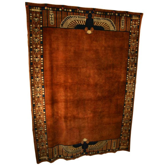 Exceptional Egyptian Revival Room Sized Art Deco Carpet