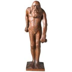 "Charles Haag Carved Wood Sculpture ""Walnut"""