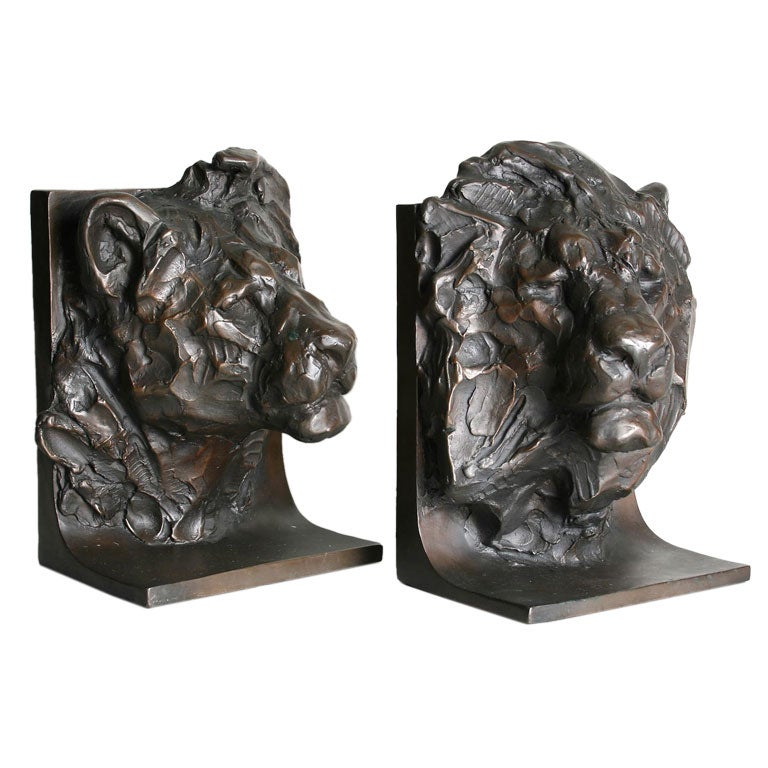 Pair Of Bronze Lion Bookends Signed By Kenneth Bunn At 1stdibs