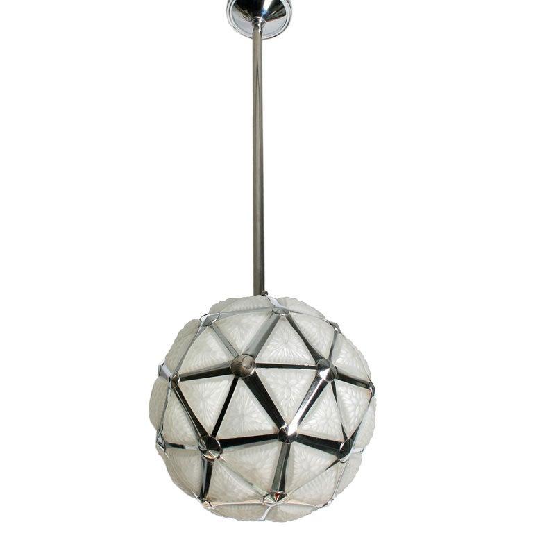 Art Deco Geometric Globe Hanging Light Fixture