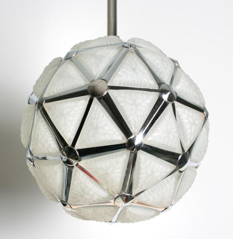 Art Deco Geometric Globe Hanging Light Fixture At 1stdibs