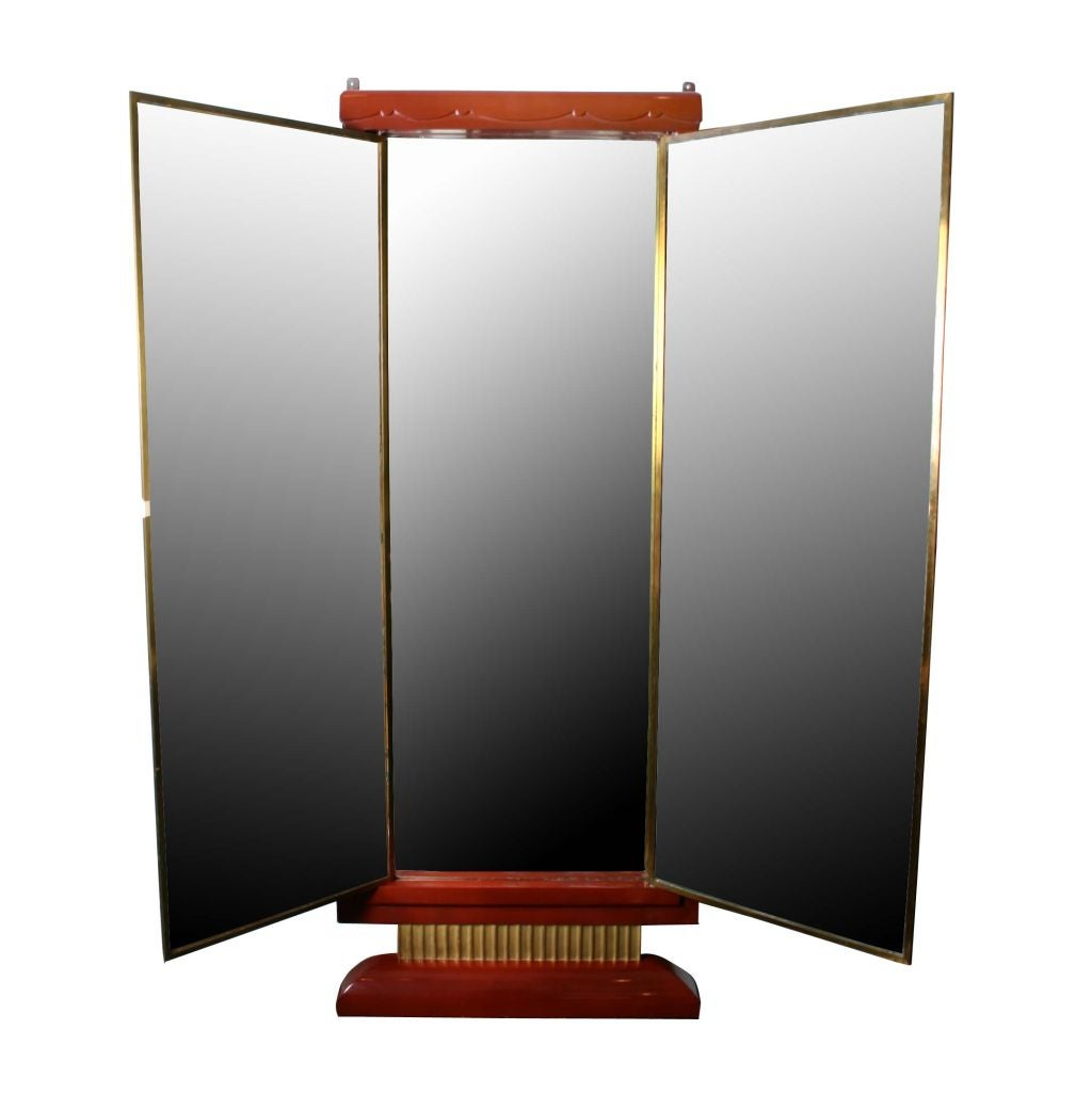 Three paneled art deco miroir brot dressing mirror at 1stdibs for Deco 3 miroirs
