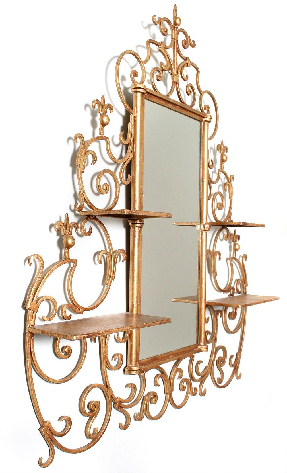 Gilt wrought iron mirror at 1stdibs for Wrought iron mirror