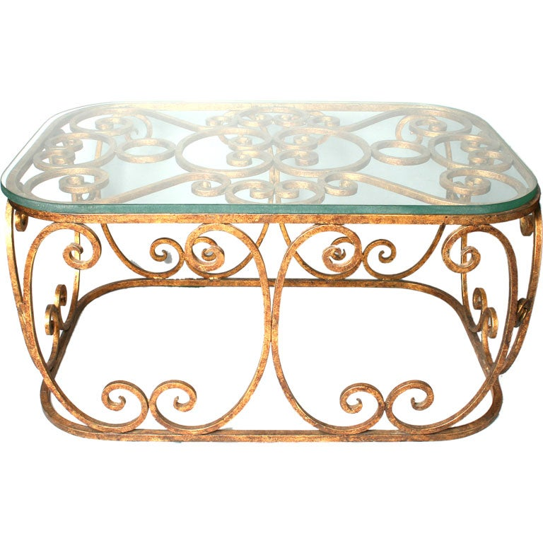 Gilt Hand Wrought Iron Table at 1stdibs : goldglasstable1 from 1stdibs.com size 768 x 768 jpeg 82kB
