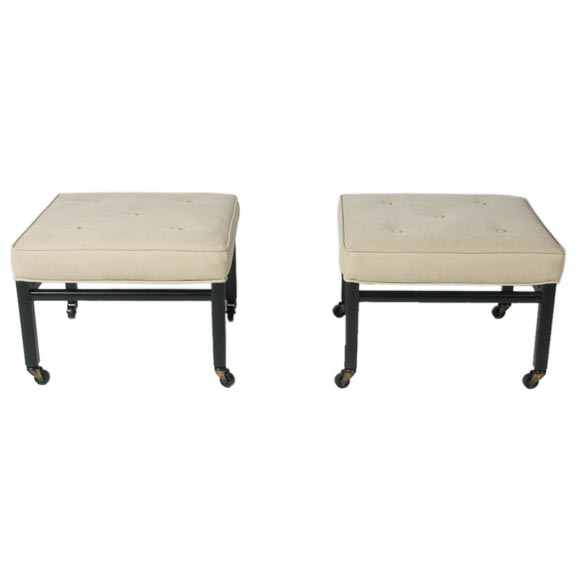 Pair of 1950s Ottomans in the style of Michael Taylor for Baker