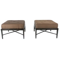 Pair of 1950s Design Custom Stools or Ottomans with X-Stretchers